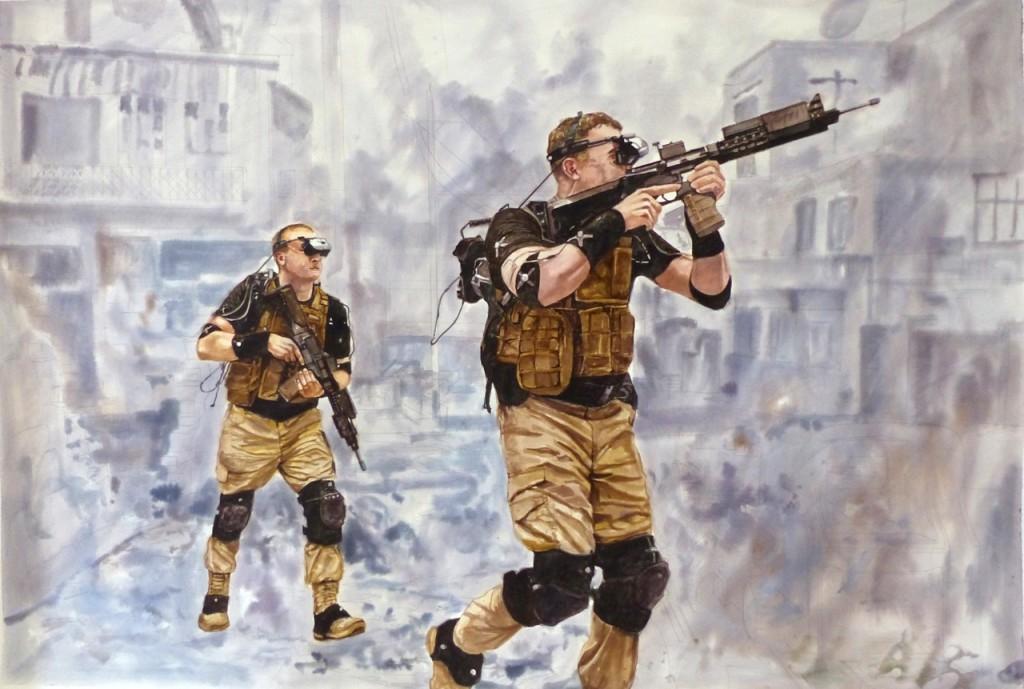 Alain Josseau, War Game, aquarelle, 2016